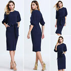 Womens Navy Blue Chiffon Sleeved Casual Party Dress Ladies Cocktail Clubwear