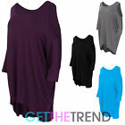 Womens Ladies Oversized Baggy Loose Fit Cold Shoulder Batwing Top Shirt UK 8-16