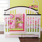 New 7 Pieces cute Pink animal Baby girl Crib Cot Bedding Quilt Set