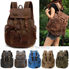 Внешний вид - Men Women Vintage Army Canvas Backpack Rucksack School Satchel Travel Hiking Bag