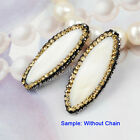 1Pcs White Shell Golden CZ Paved Connector Beads Jewelry DIY Side Hole HJA074