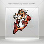 Decals Stickers Fish Hungry For Food Atv Bike polymeric vinyl Garage mtv XR894