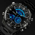 INFANTRY Mens LED Digital Quartz Wrist Watch Chronograph Black Stainless Steel image