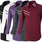 Chic Mens Slim Fit Long Sleeve Luxury Dress Casual Business Shirt Tops Tee S-XL