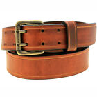 1 1/2 Light Brown Show Harness Leather Belt Double Hole Saddle Groove