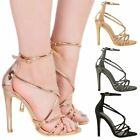 WOMENS LADIES NEW HIGH HEEL BARELY THERE STRAPPY ANKLE STRAP SANDALS SHOES SIZE