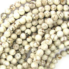 "White Turquoise Round Beads Gemstone 15.5"" Strand 4mm 6mm 8mm 10mm 12mm 14mm"