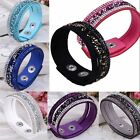 Fashion Crystal Rhinestone Leather Wrap Wristband Cuff Punk Bangle Bracelet Gift