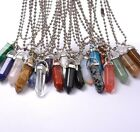 Natural Gemstones Hexagonal Pointed Reiki Chakra Pendants 18K Silver Necklace