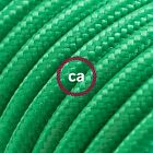 RM06 Green Solid Round Electric Cable covered by Rayon fabric