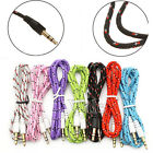1M/3.3FT Braided 3.5mm Male To Male Stereo Audio AUX Cable Cord PC iPod CAR Lot