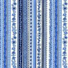 ORIENTAL STRIPE - BLUE - ORIENTAL BLUE by MAKOWER 100% COTTON FABRIC PATCHWORK