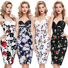 New Floral Wiggle Dress Retro Vintage 50's Pin Up Pencil AU Size 4-18