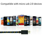 New 3M Braided Fabric Micro USB Data Charger Cable Cord For Android Cell Phone