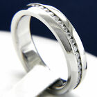 Clear CZ 316L Stainless Steel Eternity CZ Mens Wedding Bridal Band Ring