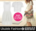 Ukulele Fashion @asos New Ladies Cream 3D striped mesh Cara Top and Dress XS - L