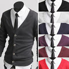 Mens Slim Fit Cotton Solid Knit Cardigan V-Neck Sweater Jacket Jumper Top - M