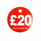£20 ROUND PRICE DISPLAY CARD  HANGER SWING TICKETS FOR MARKET & RETAIL DISPLAY