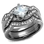 2.5 CT  PRINCESS CUT CZ GREY  BLACK STAINLESS STEEL PROMISE WEDDING 3 RING SET