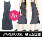Warehouse New Ladies Indigo Cotton Linen Lightweight Pinafore Dress with Split