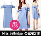 Miss Selfridge New Ladies Girls Blue Off Shoulder Bardot Dress with Ruffle 4 -16