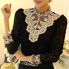 Sexy Women's Long Sleeve Embroidery Floral Lace Crochet T-Shirt Slim Fit Blouse
