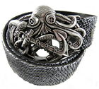 Perpetual Vogue Steampunk Octopus Buckle Silver Leather Belt