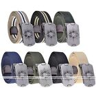 100%Cotton Mens Boys Thick Skull Solid Stripe Canvas Belt Metal Buckle Waistband