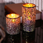 Mosaic Glass LED Candle Flameless Wax Candle Batter-Power with Timer Home Decor