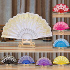 Chinese Fan Silk Lace Fabric Folding Held Dance Hand Fan Party Wedding Prom EW