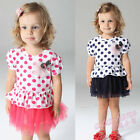 New Toddler Girls Polka dots  Tulle Princess Formal Party Dresses 9-24M