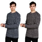 Brave Soul Meteor Mens Jumper Crew Neck Ribbed Knit Sweater With Shoulder Zip