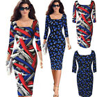 Vintage Women's Abstract Print Bodycon 3/4 Sleeve Cocktail Party Pencil Dress