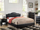 NEW EVALINDA II BLACK BYCAST LEATHER QUEEN KING LOW PROFILE PLATFORM BED