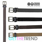 Crosshatch Designer Mens Faux Leather Suede Branded Metal Buckle Belts Belt S-XL