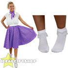 "PURPLE POLKA DOT SKIRT SCARF BOBBIE SOCKS 1950S ROCK N ROLL FANCY DRESS 26"" LONG"