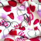 "PER METRE/ FAT QUARTER super soft cuddle fleece ivory red pink hearts 64 "" wide"