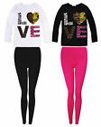 Girls Love Top Legging Set New Kids Long Sleeved T-Shirt Outfit Ages 5-13 Years