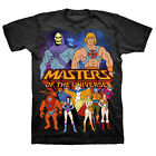 Masters of the Universe Group With He-Man and Skeletor Black Adult T-shirt