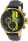 Invicta Men's S1 Rally Chrono 100m Gold Tone S. Steel Black/Brown Leather Watch