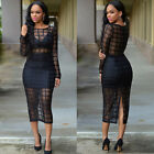 Sexy Womens Bodycon Evening Cocktail Party Transparent Bandage Slim Pencil Dress