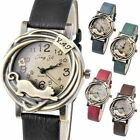 New Stylish Vintage Womens Bronze Case Cat & Flower Quartz Analog Wrist Watch