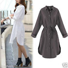 Womens Sexy Long Sleeve Shirt Casual Loose Blouse T-shirt Ladies Long Tops Dress