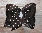 X-Large 6 inch Brown & White Polka Dot Grosgrain Ribbon Hair Bow
