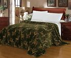 "CaliTime Soft Green Gold Wild Deer Throw Blanket Bedspread Full Queen King 87"" W"