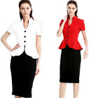 womens office ladies elegant Vintage work wear peplum Bodycon pencil dress S-4XL