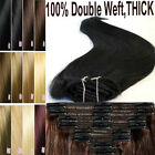 160g-200g Clip In Remy Human Hair Extensions Full Head Double Weft Thick UK M399