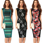 Fashion Women's Sleeveless Square Neck Bodycon Dress Party Midi Vintage Work New