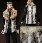 Fashion Men's Faux Rabbit Fur Coat Jacket Winter Warm Lapel Gilet Vest Waistcoat