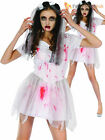 Ladies Bloody Bride Costume Adults Zombie Halloween Fancy Dress Womens Outfit